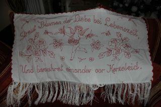 , Weihnach Idee,  Antik Wandbehange Rot Stickerei,  Angel Motiv,  Spruch,  Fransen Bild