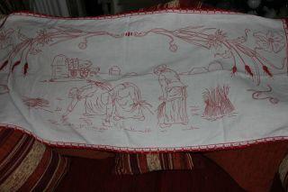 , Weihnach Idee,  Antik Leinen Wandbehange Rot Stickerei, Bild