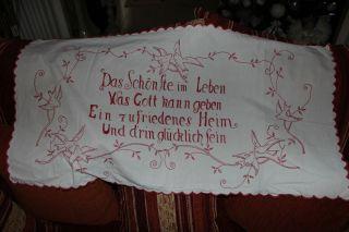, Weihnach Idee,  Antik Wandbehange Rot Stickerei,  Spruch Bild