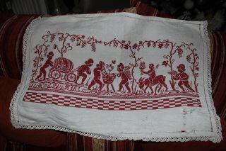 , Weihnach Idee,  Antik Wandbehange Rot Stickerei,  Hohlsaum,  Häkelspitze Bild