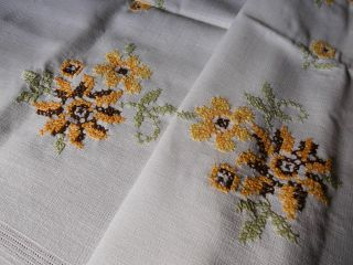 Wunder - SchÖne - Mitteldecke - Leinen - Sonnenblumen - Spitze - Handarbeit Bild
