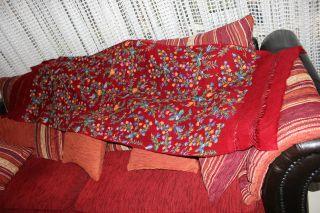 , Weihnach Idee,  Groß Antikxxl Wolle Läufer Weinrot,  Blumen Stickerei Bild