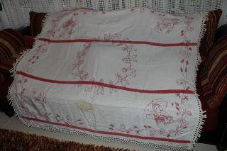 , Weihnach Idee,  Groß Antik Leinen Tischdecke,  Tolle Antik Rot Stickerei,  Fransen Bild