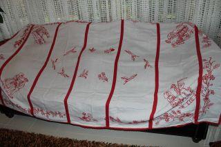, Weihnach Idee,  Groß Antik Leinen Tischdecke,  Tolle Antik Rot Stickerei230x140 Bild
