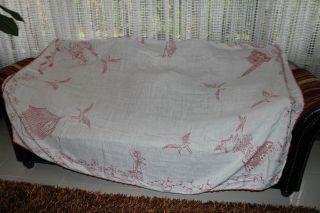 , Weihnach Idee,  Groß Antik Leinen Tischdecke,  Tolle Antik Rot Stickerei140x210 Bild