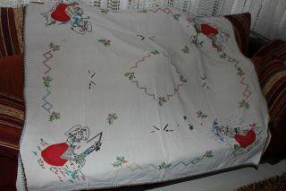 , Weihnach Idee,  Groß Antik Leinen Tischdecke,  Tolle Antik Stickerei Bild