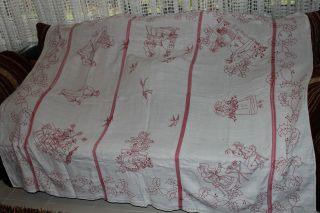 , Weihnach Idee,  Groß Antik Alte Leinen Tischdecke,  Tolle Antik Rot Stickerei Bild