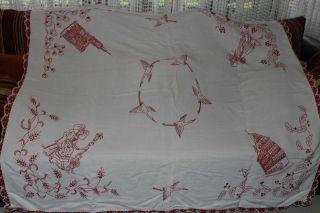 , Weihnach Idee,  Groß Antik Leinen Tischdecke,  Tolle Antik Rot Stickerei Bild