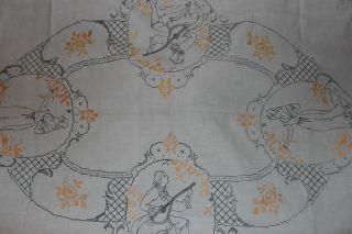 , Weihnach Idee,  Groß Antik Leinen Tischdecke,  Tolle Antikstickerei Bild