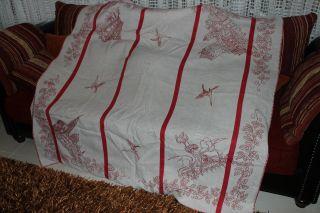 , Weihnach Idee,  Groß Antik Leinen Tischdecke,  Rot Stickerei Bild