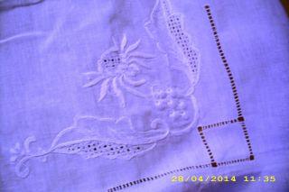 Tischdecke Lochstickerei Leinen Weiß Bild