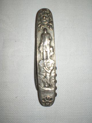 Uraltes Taschenmesser & Korkenzieher Mit Bismarck Motiv & Spruch,  Um 1870. Bild