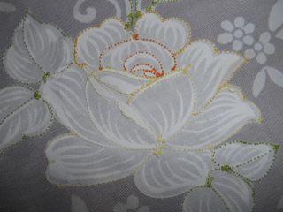 Weiße,  Große Runde Tischdecke Mit Bogenkante U.  Blumen - - - Ca.  1,  65 M Durchmesser Bild