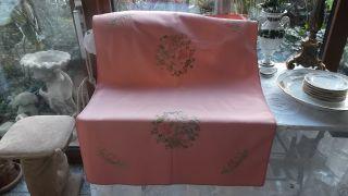 Schöne Alte Decke,  Rosa,  Feine Florale Stickereien,  Handarbeit Bild