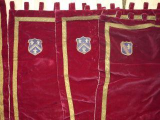 6 Schwere Adel Vorhänge Samt Rot Wappen Brokat Schmiedeeisen 180x50cm Studentika Bild