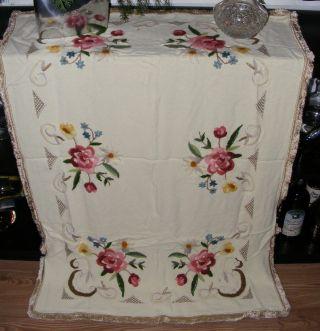 Reichhaltig Bestickte Tischdecke TischwÄsche Dekoration Blumen Handarbeit Shabby Bild