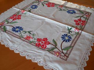 Tischdecke Leinen Weiß,  Bunt Bestickt 80x80 Cm Handarbeit,  Häkelspitze,  Landhaus Bild
