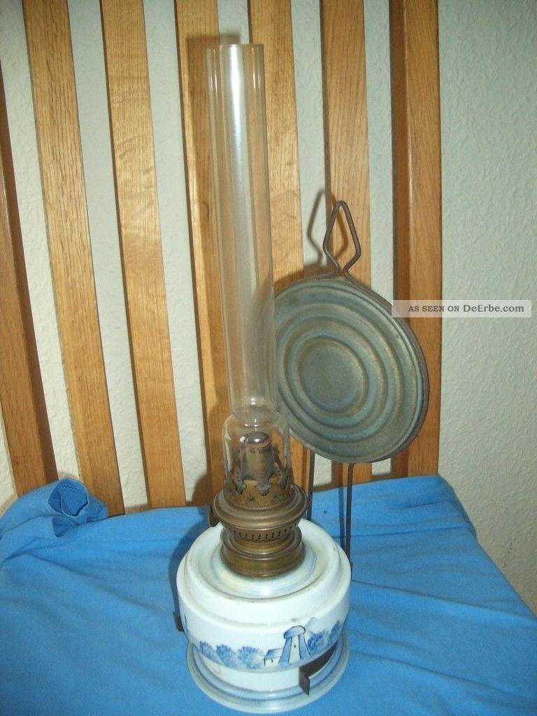 Alte Petroleumlampe Mit Windmühlenmotiv Antike Originale vor 1945 Bild