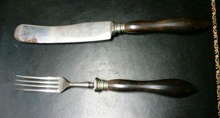 Antike Ebenholz? Messer & Gabel,  Aus Solingen Nachlass Bild