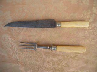 Antikes Großes Vorlegebesteck Messer Und Gabel Bein Griff Th.  Begert Um 1850 Bild