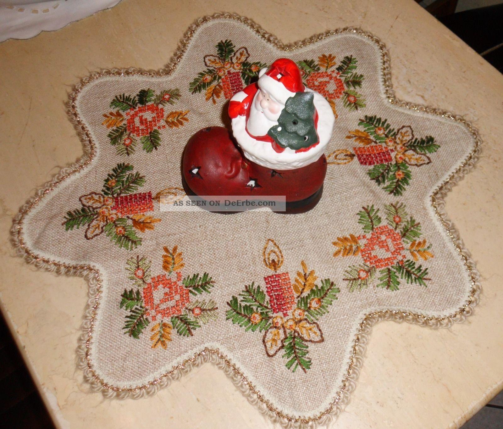 runde l ufer weihnachtsstern tischdecke stickerei 100. Black Bedroom Furniture Sets. Home Design Ideas