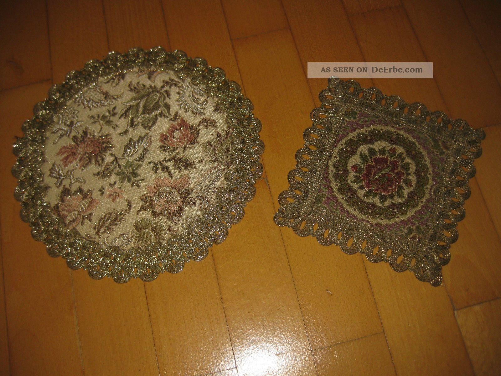 2 brokat deckchen brokatdeckchen rund 19 cm rechteckig 13. Black Bedroom Furniture Sets. Home Design Ideas