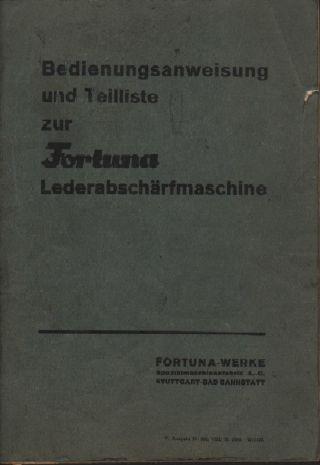 Stuttgart,  Katalog 1940 Maschinen - Fabrik Schuh - Näh - Leder - Maschinen Fortuna Bild