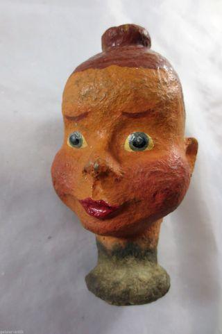 Uralter Puppenkopf Pappmaché Für Marionette Handpuppe Um 1940 Mädchen Mit Dutt Bild