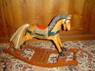 Altes Antikes Geschnitztes Holz Schaukelpferd Pferd Puppen Deko Karussell Bild
