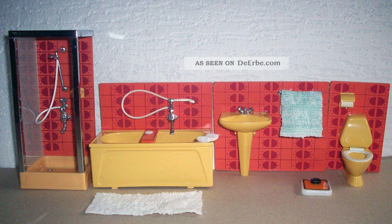 Lundby badezimmer mit zubeh r extra duschkabine dusche for Badezimmer 70er