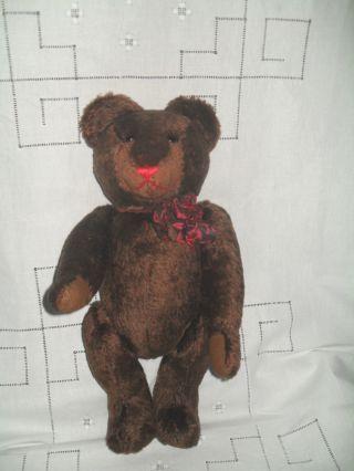 Dunkelbrauner,  Großer Teddybär Johanna Haida Sonneberg - Ca.  46 Cm Bild