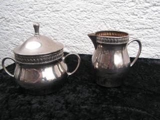 Antike Zuckerdose & Milchkännchen/sahnegießer Wmf Straussenmarke Bild