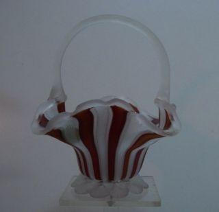 Glasfaden Schale Henkelkorb Murano Rot Und Weiß Bild
