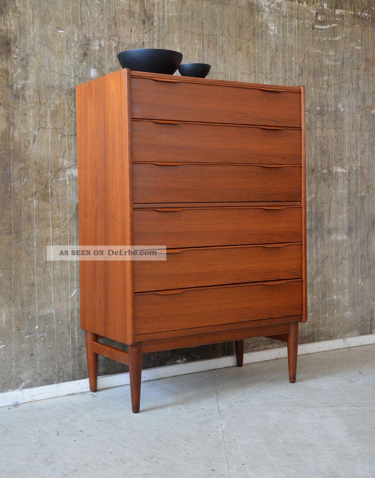 60er teak kommode highboard danish design 60s cabinet