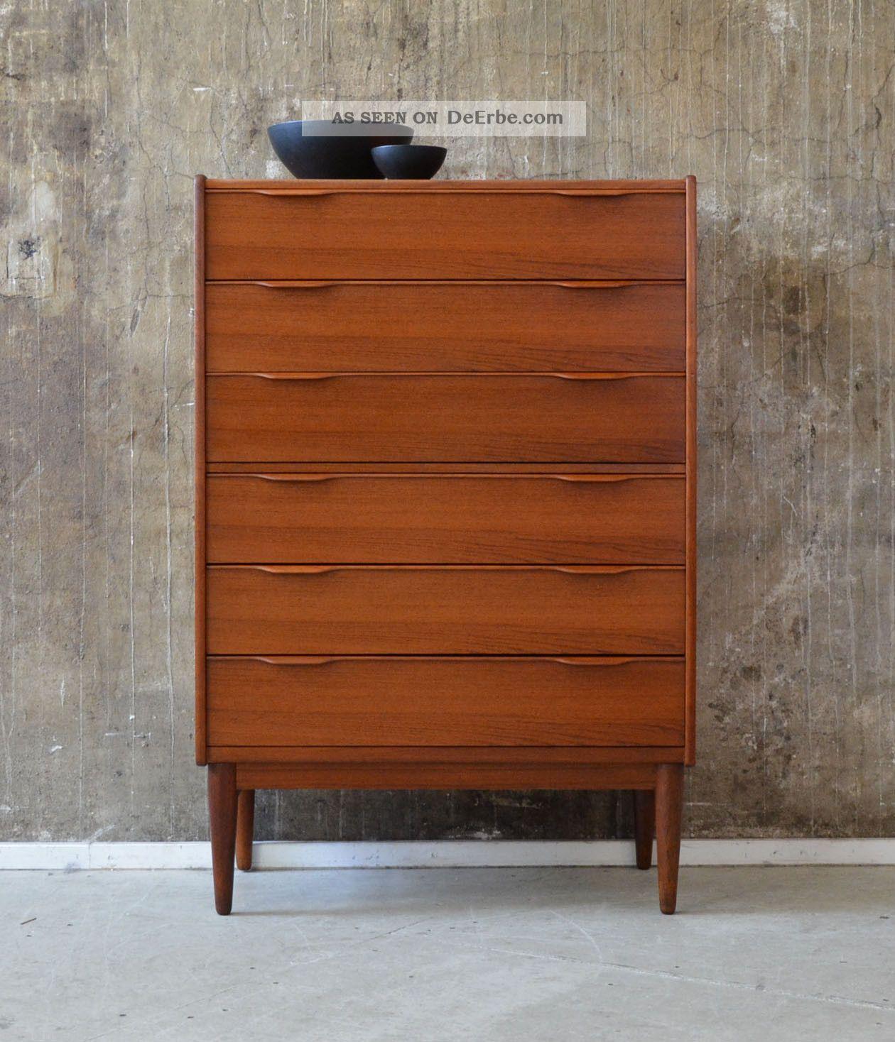 60er teak kommode highboard danish design 60s cabinet chest kai kristiansen ra. Black Bedroom Furniture Sets. Home Design Ideas
