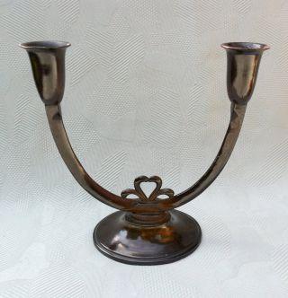 Alter Kerzenständer / Kandelaber Aus Der Jugendstil Zeit Aus Messing / Bronze Bild