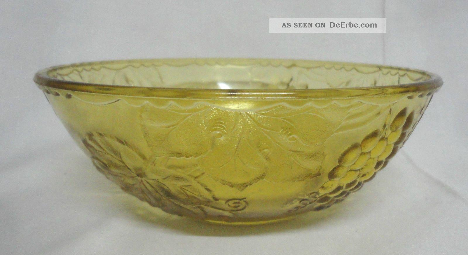 Art deco glas schale pressglas mit trauben motiv for Glas mit motiv