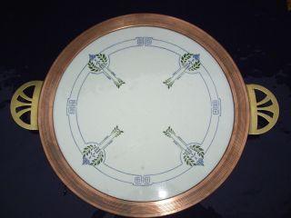 Jugendstil Keramik Tortenplatte Kupferrand Handhaben Messing Art Nouveau Bild