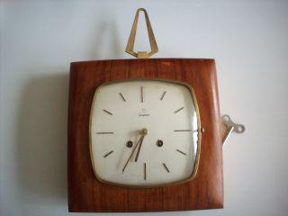 50s Med Century Mechanische Junghans Wanduhr Uhr Mit Gong Teak Wood Wall Clock Bild