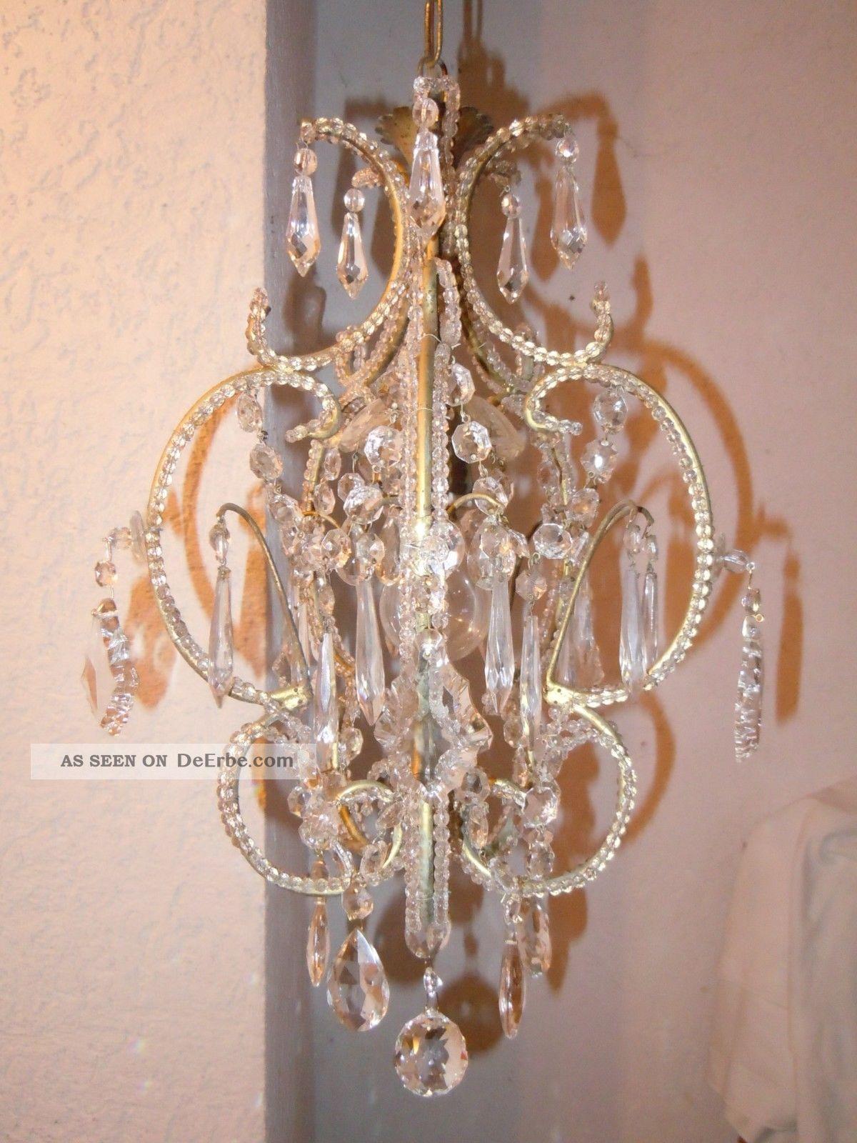 kleiner veneziane kristall l ster chandelier kronleuchter jugendstil shabby rar. Black Bedroom Furniture Sets. Home Design Ideas