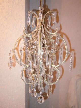 Kleiner Veneziane Kristall Lüster Chandelier Kronleuchter Jugendstil Shabby Rar Bild