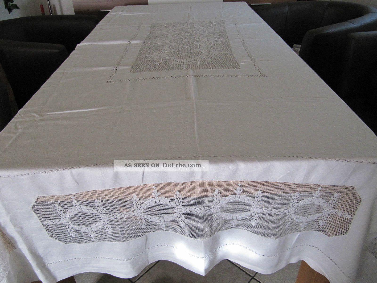 jugendstil leinen tischdecke mit hohlsaum stickerei und kl ppelei 240 x 180 cm. Black Bedroom Furniture Sets. Home Design Ideas
