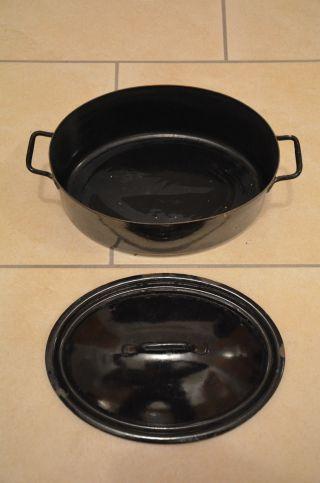 Alter Schwarzer Ovaler Topf,  Emaille Bild