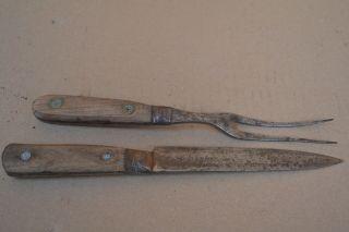 2 Teiliges Vorlegebesteck,  Tranchierbesteck Mit Genieteten Holzgriffen Bild