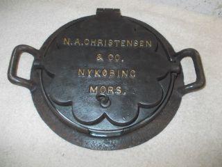 Altes Dänisches Gusseisernes Waffeleisen,  Waffeleisen,  Herzeisen,  Herzwaffeleisen Bild
