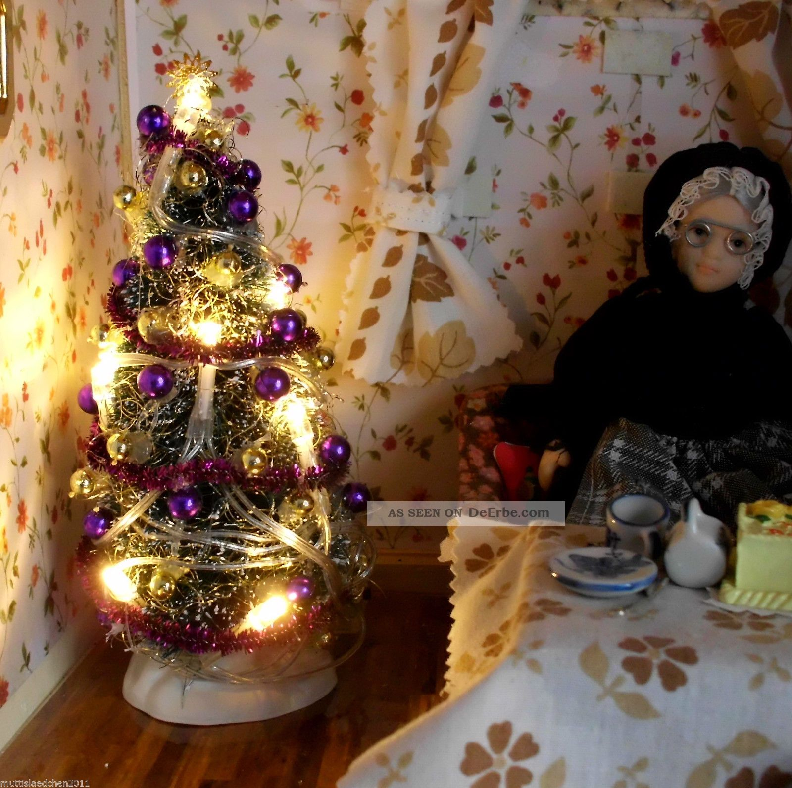 weihnachtsbaum warmwei beleuchtet lila gold kugeln 16 cm. Black Bedroom Furniture Sets. Home Design Ideas