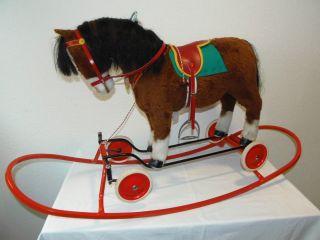 Steiff Reit - Pony Mit Stahlrohrwiege Um 1968 - Art.  - Nr.  3703 - 60 - 60 Cm Bild