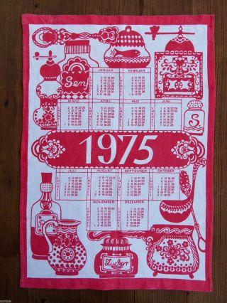 1975 Kalender Geschirrtuch Handtuch Küchentuch Rot Weiß 70er Vintage Bild