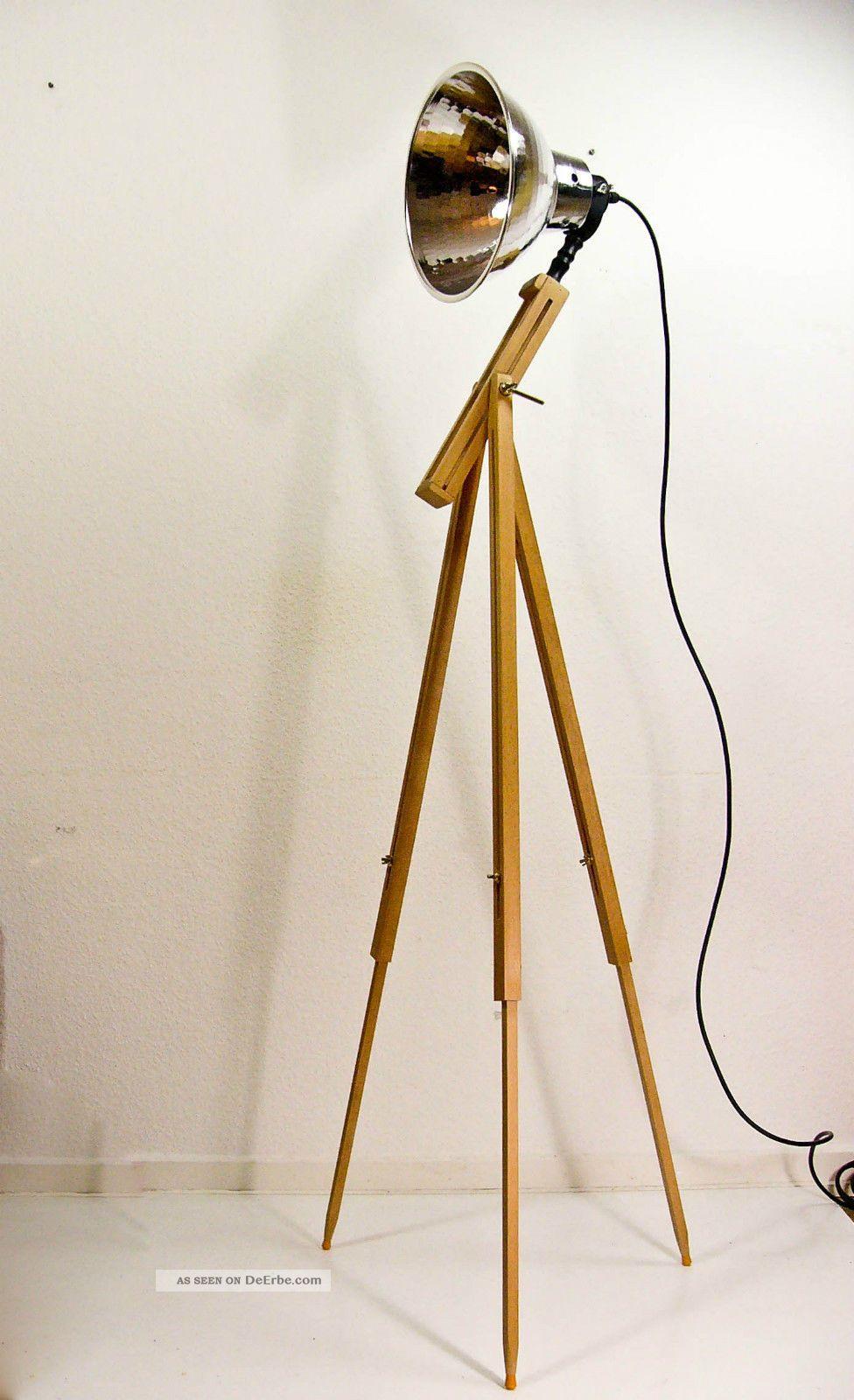 Dreibein Stehlampe Scheinwerfer Tripod Holz Stativ Lampe Vintage