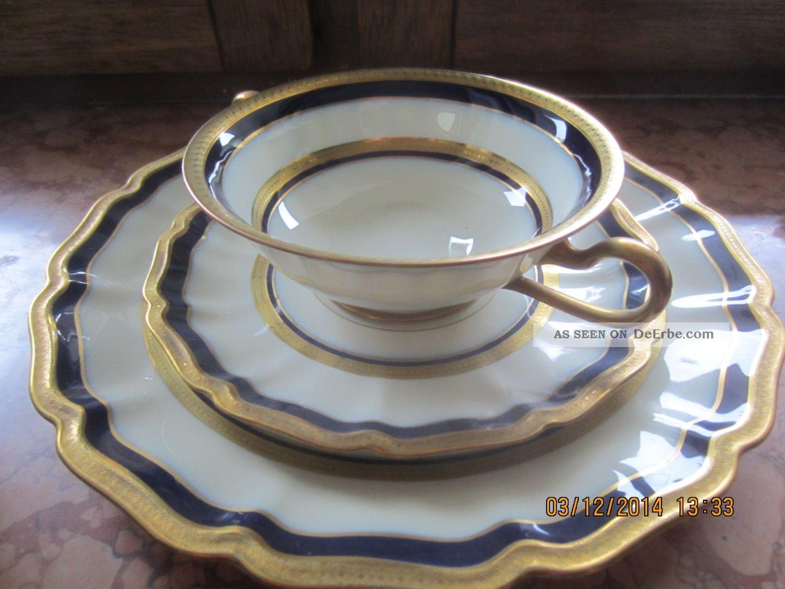 rosenthal geschirr porcellan serie regina wei mit blau gold verzierungen. Black Bedroom Furniture Sets. Home Design Ideas